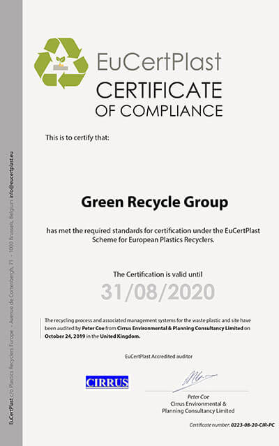 Green Recycle Group   Plastic Recycling Company   Certificates