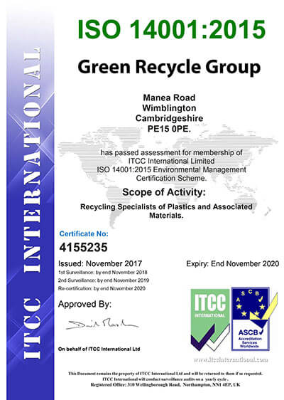 Green Recycle Group   Plastic Recycling Company   ISO Certificates